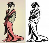 pic of geisha  - traditional japanese geisha vector illustration  - JPG