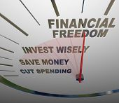 A speedometer with the words Financial Security, Invest Wisely, Save Money and Cut Spending to illus