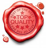 stock photo of certificate  - top quality best of best label red wax stamp icon confirmed qualities certificate 100 - JPG