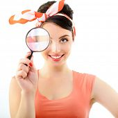 image of pinup girl  - Pinup girl with magnifying glass - JPG