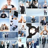 stock photo of real-estate-team  - Collage with a lot of different business people working together - JPG
