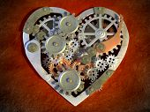 Gear mechanism creating an heart shape. Digital illustration.