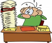 picture of cartoon character  - Stressed out gnurf cartoon character looking at a pile of paperwork and files on his desk - JPG