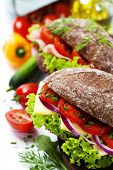 foto of tomato sandwich  - Grain bread sandwiches with ham - JPG
