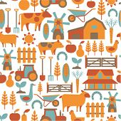 picture of oxen  - seamless pattern with farm related items - JPG