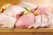stock photo of charcuterie  - Chicken and turkey meat on kitchen board - JPG