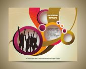 template for advertising brochure with people. banner with happy jumping people