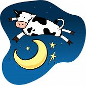 image of nursery rhyme  - From the nursery rhyme Hey Diddle Diddle the cow jumped over the moon - JPG