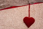 Valentine Background Hand-sewn Heart Texstile