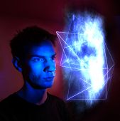 pic of hallucinations  - A man staring at an abstract geometric cloud - JPG