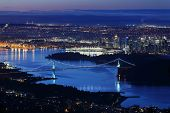 picture of inlet  - A high angle night view of Burrard Inlet and the Vancouver cityscape - JPG