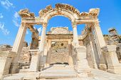 Wonderful Hadrian temple ruins in the city of Ephesus, Turkey.