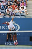 Twelve times Grand Slam champion Rafael Nadal during  first round match at US Open 2013