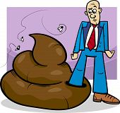 stock photo of poop  - Cartoon Concept Illustration of Shit Happens Expression or Man who Trod in Big Poop - JPG