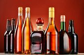 stock photo of liquor bottle  - Bottles of assorted alcoholic beverages. Liquor .
