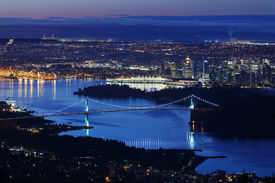 foto of inlet  - A high angle night view of Burrard Inlet and the Vancouver cityscape - JPG