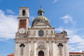 picture of vicenza  - Sanctuary of Our Lady of Monte Berico facade of the basilica dome and bell tower Vicenza  - JPG