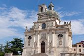 stock photo of vicenza  - Sanctuary of Our Lady of Monte Berico facade of the basilica dome and bell tower Vicenza  - JPG