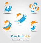 foto of parachute  - Parachute and parachute club business icon for creative design - JPG