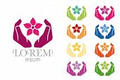 stock photo of jasmine  - Massage Spa Symbol Design Template - JPG