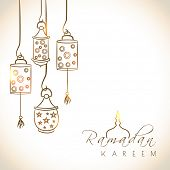 stock photo of bakra  - Beautiful greeting card design with shiny arabic lanterns on brown background for holy month of muslim community Ramadan Kareem - JPG