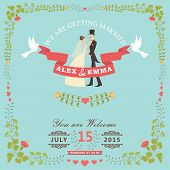 stock photo of pigeon  - Wedding invitation design template - JPG