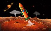 picture of outerspace  - Illustration of an orange rocket in the outerspace - JPG