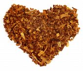 image of tobacco leaf  - Dried tobacco leaves decorated in heart shape - JPG