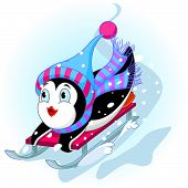 stock photo of toboggan  - Vector illustration of Penguin having fun in a snow cart - JPG