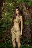 picture of loincloth  - Savage woman with long hair in the forest - JPG