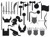 picture of arsenal  - medieval weapons icons vector illustration on white background - JPG