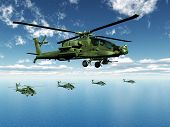 stock photo of apache  - Computer generated 3D illustration with American Apache Helicopters - JPG
