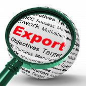 image of export  - Export Magnifier Definition Showing Abroad Selling Overseas Trade And Exportation - JPG