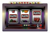 foto of poker machine  - Slot machine with three reels lettering PLEITE - JPG