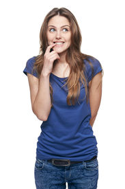 image of prank  - Portrait of a funny young woman with prank expression on her face - JPG
