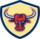 pic of bull head  - Illustration of an angry raging bull head facing front set inside crest shield done on isolated background done in retro style - JPG