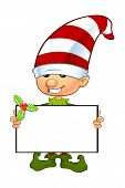 stock photo of elf  - A cartoon illustration of a cute Christmas elf character - JPG