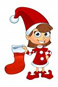 image of elf  - A cartoon illustration of a girl elf character dressed in red - JPG