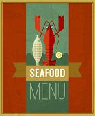 picture of lobster  - Vector vintage seafood menu poster with fish lobster and lemon - JPG