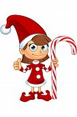 foto of elf  - A cartoon illustration of a girl elf character dressed in red - JPG