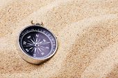 picture of geography  - Tourist compass on the hot sand geography - JPG