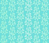 stock photo of harebell  - Turquoise outline curved stylized harebell seamless pattern with smooth color gradation - JPG