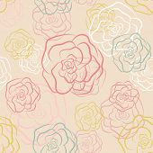 picture of pale  - Calm seamless pattern in pale colors with pastel doodle outline roses - JPG