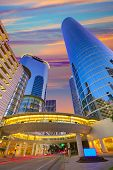 picture of nightfall  - Houston Downtown sunset modern skyscrapers at Texas US USA - JPG