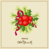 stock photo of merry chrismas  - Merry Christmas celebrations greeting card design decorated with mistletoe and fir leaves - JPG