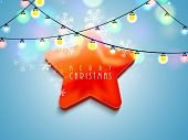 picture of merry chrismas  - Stylish shiny star with text on colorful lights and snowflake decorated background for Merry Christmas celebration - JPG