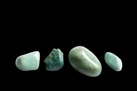 picture of feldspar  - Four green stones - JPG