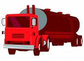 pic of fuel tanker  - vector illustration of a cement truck tanker commerical vehicle viewed from front done in retro style - JPG