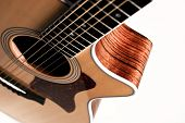 picture of bluegrass  - Closeup of a guitar on a white background - JPG