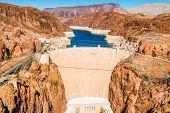 stock photo of dam  - Famous Hoover Dam at Lake Mead Nevada and Arizona Border United States - JPG